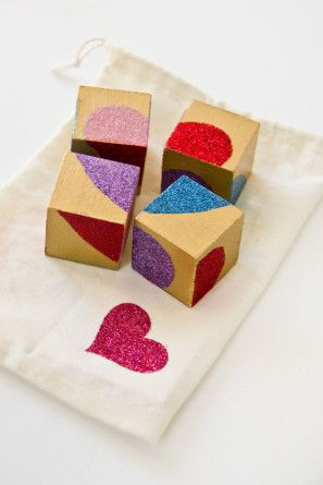 DIY glittery wooden block for Valentine's Day gift!  Could also cut photos in heart shapes.