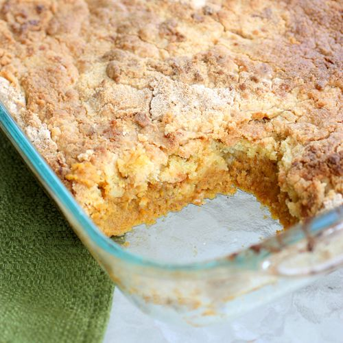 FOR MY MOM.....Pumpkin Dump Cake 1 (20 oz) can pure pumpkin 1 (12 oz) can evaporated milk 3 whole eggs 1 c. white sugar 3 t.cinnamon 1 Betty Crocker Supermoist yellow cake mix or spice cake mix 3/4 cup butter, melted bake @ 350,mix pumpkin, milk, eggs, sugar, & cinnamon until well blended. Spread pumpkin mixture in prepared baking dish. Mixture will be very wet.Sprinkle cake mix evenly on top of the batter. Pour melted butter over the top of the cake mix. Bake 50 min.