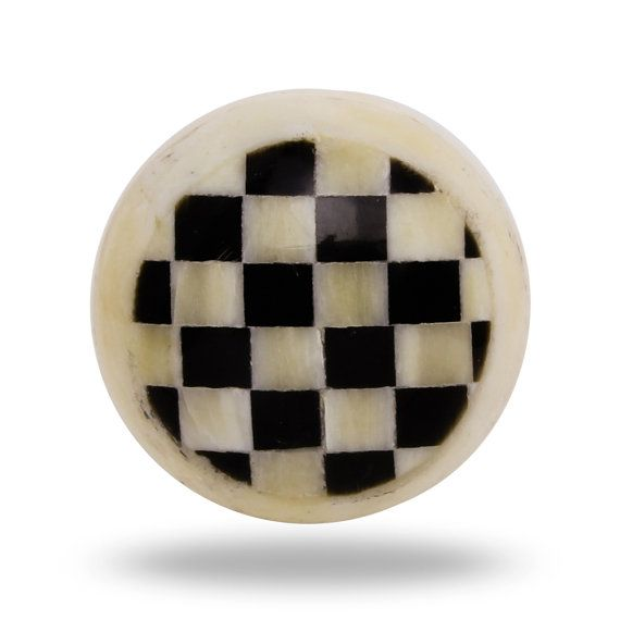 Black and White Checkered Xadrex Bone Knob, Round Kitchen Cabinet Door Knob, Furniture Accent, Decorative Dresser Draw Handle, Cupboard Pull