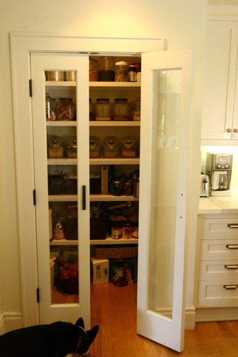 Glass Front Pantry Door Part - 30: Lovely Walk-in Pantry With Glass Front Bi-fold Doors. White Shaker Kitchen