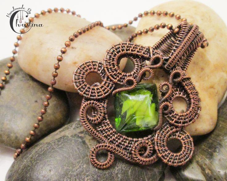Oxidized Copper Wire Woven & Green Lampwork Glass Pendant