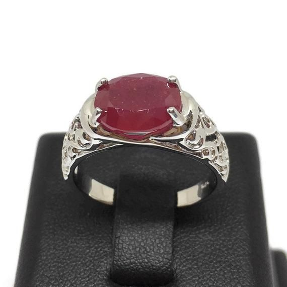 Handmade Ring For Men And Woman Natural Ruby 7 Carat Ring Anniversary Gift. Gold Plated Ring