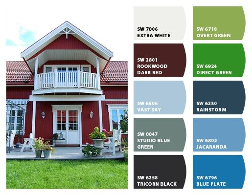 Traditional norwegian home color palette inspiration for Exterior house color inspiration