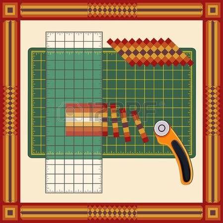 Patchwork: How to Do it Yourself: Tagliare strisce di tessuto cucite, riorganizzare in schemi con righello trasparente, taglierina lama rotante sul tappeto di taglio, per cucire, quilting, progetti fai da te. Telaio quadrato nel disegno patchwork tradizionale. photo