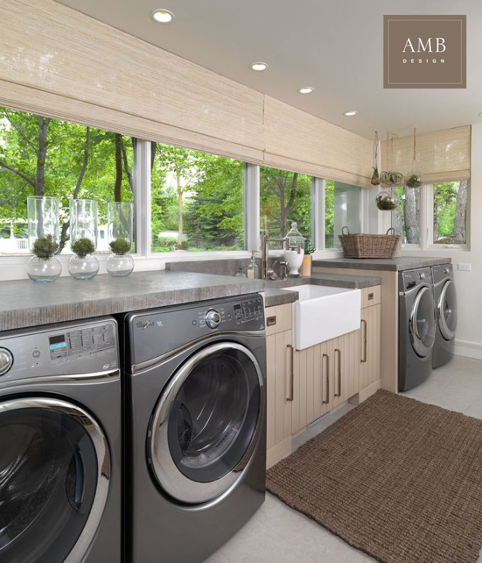 Organic modern laundry room designed by Anne Marie Barton #ambdesign # interiordesign #laundryroom #