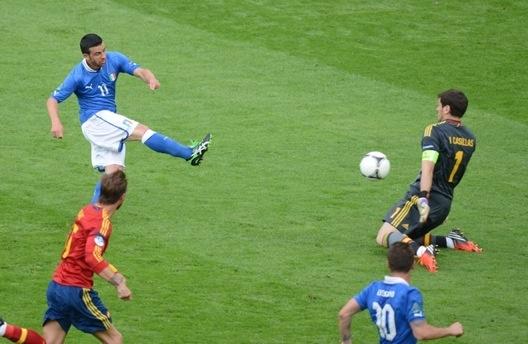 Italia's Antonio Di Natale scores against Spain!