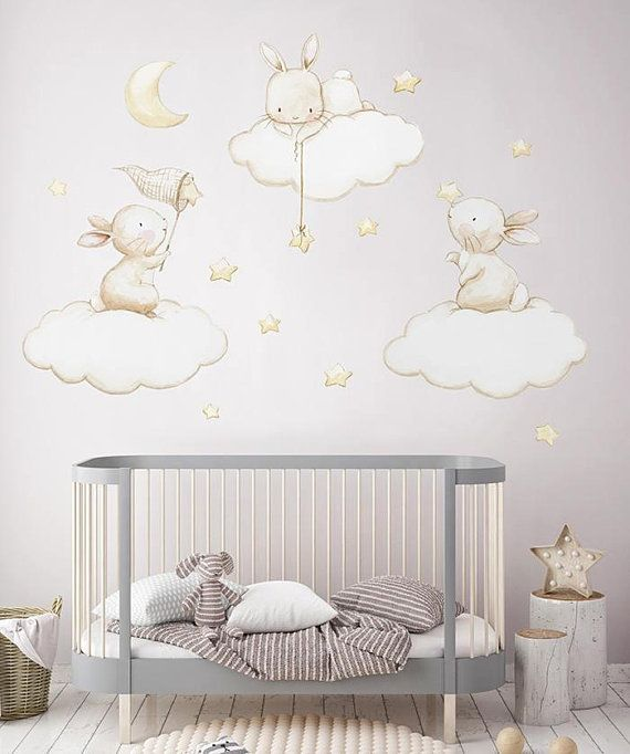 Fabric Wall Decal Bunnies Fishing Stars Nursery Wall Decal