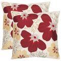 Petals 18-inch Cream/ Red Decorative Pillows (Set of 2) | Overstock.com