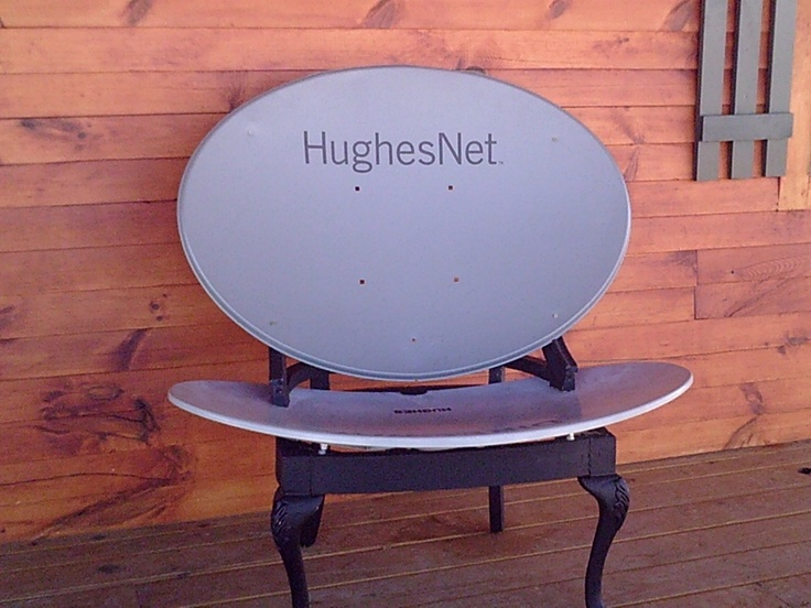 We made a chair from an old chair frame and a couple of satellite dishes.
