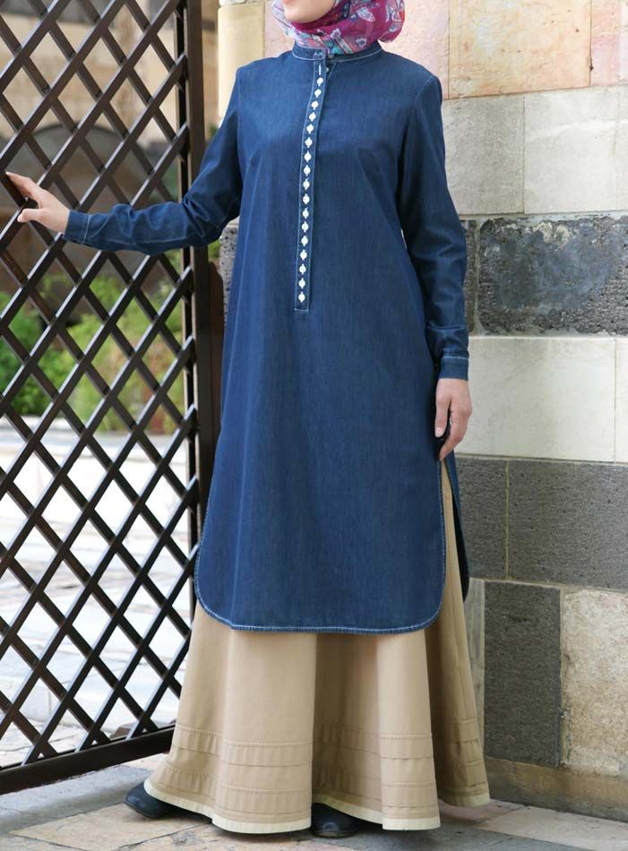 SHUKR USA | Denim Mother of Pearl Button Tunic