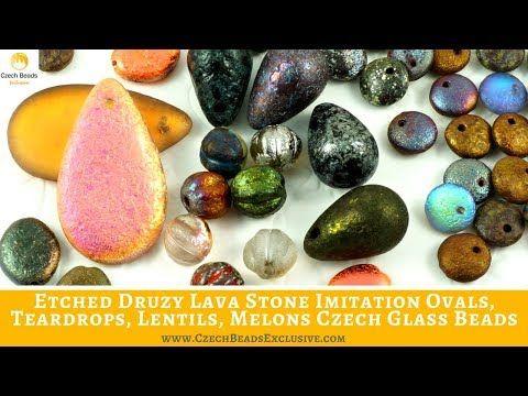 Video! ETCHED Druzy Lava Stone Imitation Ovals, Teardrops, Lentils, Melons Czech Glass Beads     #czechbeadsexclusive #czechglassbeads