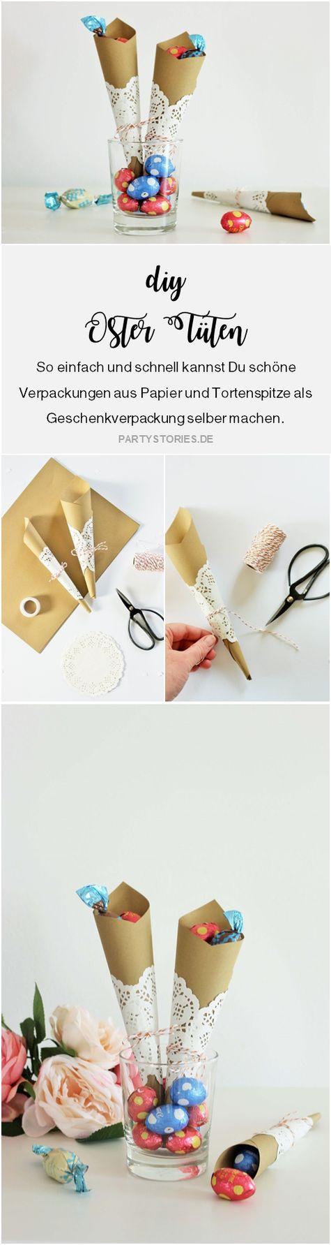 Geschenkverpackung als Ostertüte einfach selber machen - Mit dieser Anleitung schöne Verpackungen aus Papier und Tortenspitze für Ostern basteln; gefunden auf www.partystories.de #ostern #diy #geschenke #geschenkidee #basteln