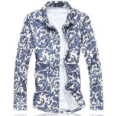 GOUHAI Mens Hawaiian Shirt 2016 Mens Dress Shirts Floral Social Shirt M-5XL 6XL 7XL Hawaiian Shirts For Men C6180