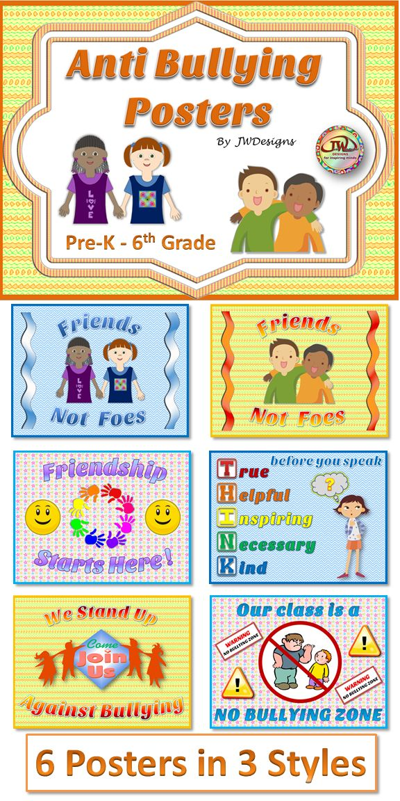 This set of anti-bullying posters is a great addition to your classroom décor, to remind students of the importance of getting along. There are 6 different posters in 3 different color schemes. 18 bright and colorful posters total. Behavior management for Pre-K through 6th grade and homeschools. $