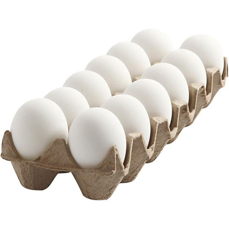 Witte plastic eieren 12 stuks 6 cm  Eierkarton met 12 plastic eieren met een zijdemat witte finish. Een ei heeft een grootte van 6 cm en een gaatje aan de bovenzijde. Het ei kunt u zelf decoreren en gebruiken als paasversiering.  EUR 6.50  Meer informatie