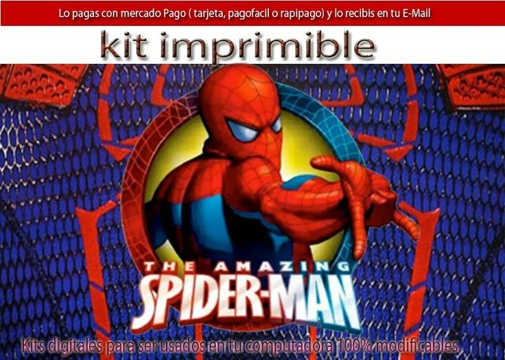 Kit Imprimible Hombre Araña Spiderman Personaliza Tarjetas - $ 26 ...