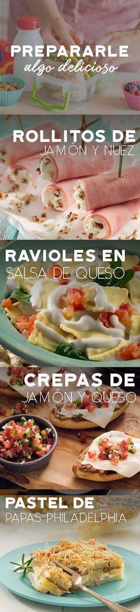 Ideas para prepararle a tu peque. #recetas #receta #quesophiladelphia #philadelphia #crema #quesocrema #queso #comida #almuerzo #lunch #mama #colegio #escuela #hijo #jamon #ravioles