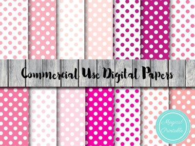 dp129 pink shades digital papers, pastel pink, hot pink
