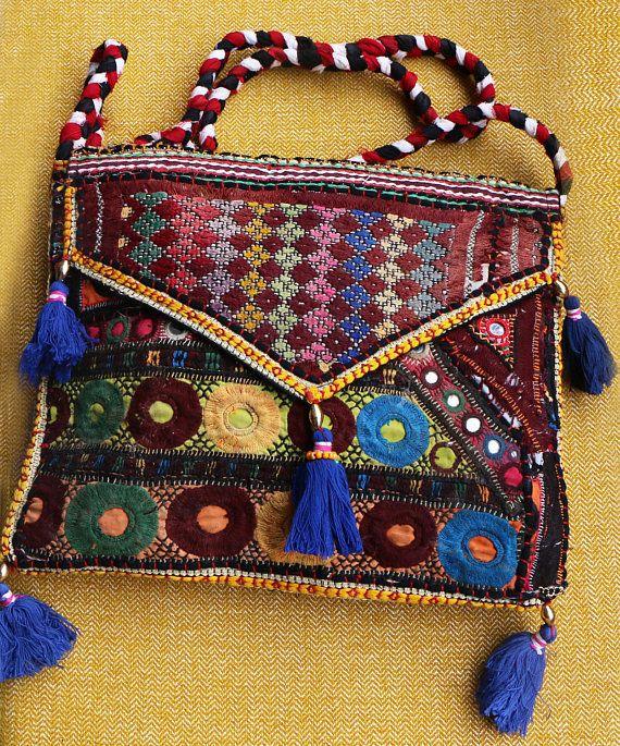Boho tas/borduurwerk tas/pom pom tas/Afghaanse tas/Indische/gujarat/vintage tas/miror/fringe/beeds/etnische Boheemse koppeling/cross body tas