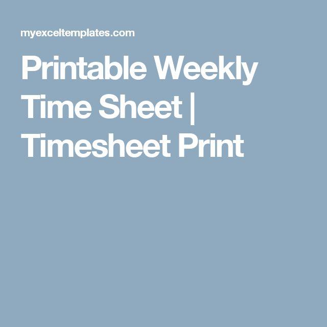 Printable Weekly Time Sheet | Timesheet Print