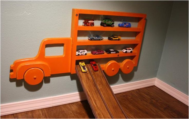Closet-to-playspace after - matchbox car ramp from floor plank