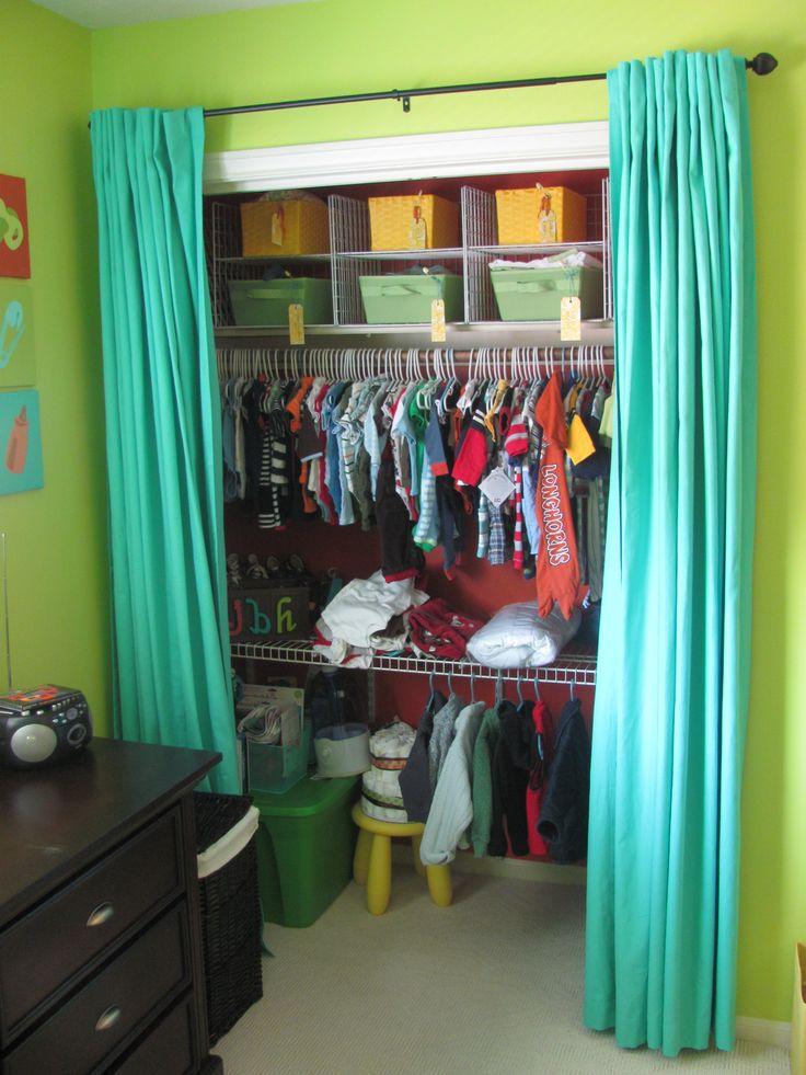 Closet With Curtains Instead Of Doors Maybe As A Temporary Until I Could Replace The Closet