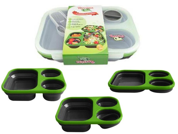 Are you very busy?   Rossina Cibo offers you a Foldable Silicone Lunch Box. Good for Freezer storage and Microwavable. Where you can store your family's meals and leftovers, then later in day take it to work, picnics, school, good grab for on the go.   Grab Yours Now!!! http://www.amazon.co.uk/Rossina-Cibo-Compartments-Collapsible-Cutlery/dp/B00ZVFFDDI