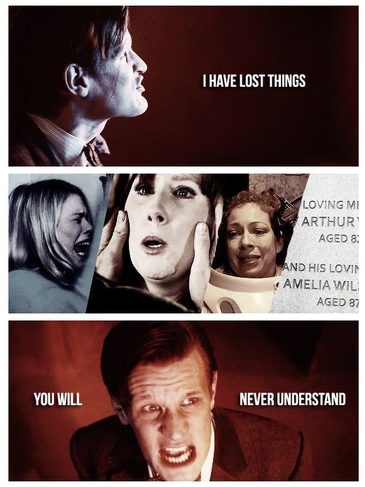 I have lost things (Rose Tyler, Donna Noble, River Song, Amy Pond, Rory Williams) you will never understand.