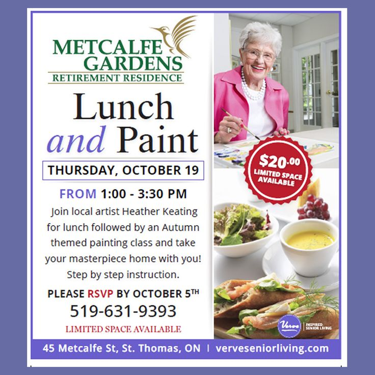 Metcalfe Gardens is so excited for the upcoming Lunch and Paint afternoon with Heather Keating! Call to reserve your spot.