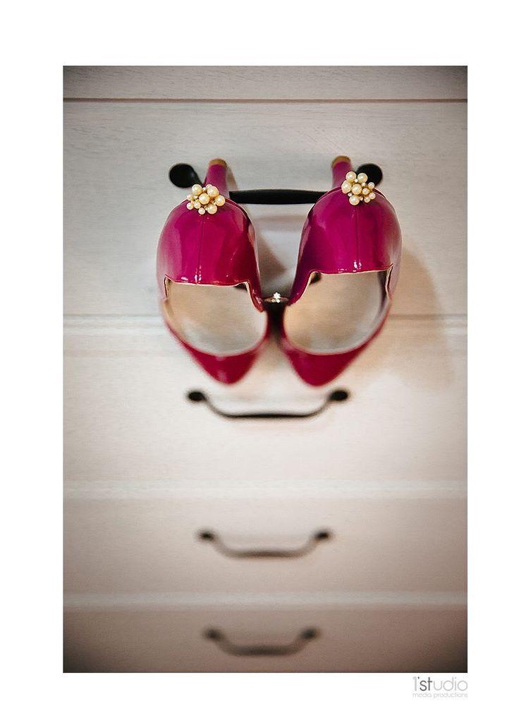 My special shoes!  Fuchsia wedding theme!