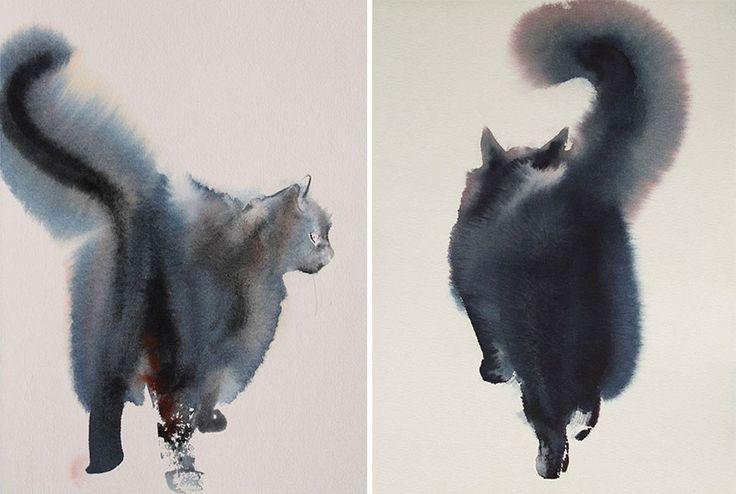 Endre Penovac est un artiste serbe qui crée de somptueuses aquarelles de chats.