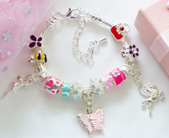 Unicorn pegasus charm bracelet & butterfly by JewlsGifts on Etsy