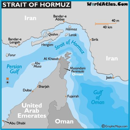 The Straight of Hormuz is considered one of the most strategic strait of water on the planet. Through its waters passes much of the oil from Bahrain, Iran, Iraq, Kuwait, Qatar, Saudi Arabia and the United Arab Emirates.