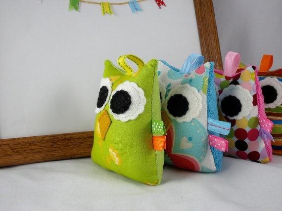 Owl Plush Rattle Baby Toy Small Stuffed Owl Minky Plush Lime Green
