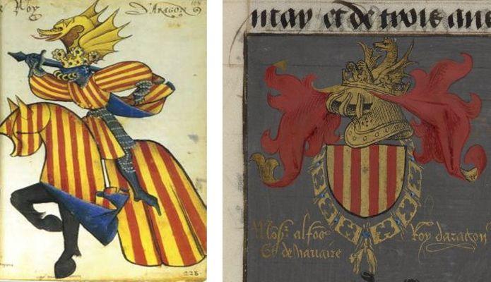 Armas de la Corona de Aragón con la cimera del drac pennat –emblema parlante por equivalencia entre dragón y d´Aragón–. Arriba, a la izquierda, fol. 108 del Gran Armorial de la Orden del Toison d´Or (BNF RES MS 4790). A la derecha, detalle del fol. 65 del Ms. Harley 6199 (British Library).