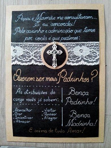 Convite Batizado Padrinhos