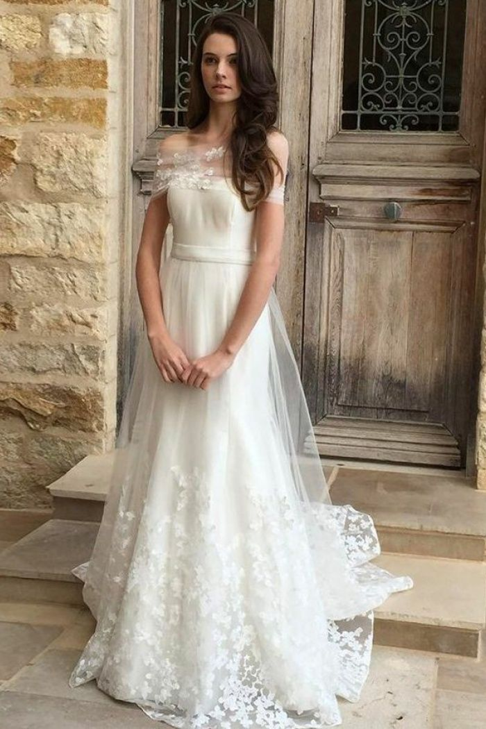 A Line Off The Shoulder Sweep Train Tulle Wedding Dress With Appliques Wisebridal Com Tulle Wedding Dress Wedding Dresses Tulle Wedding