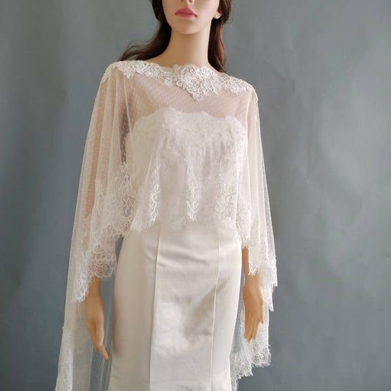 Bridal Cape Sewed Delicate Flower Lace With Taiwan Tulle Ivory White Wedding Dress Accessory Shoulders Shawl Cover Ups Cape11