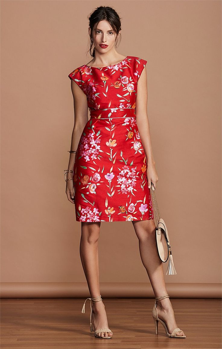 SERENA HAND PAINTED CAP SLEEVE KNEE LENGTH DRESS IN RED FLOWER PRINT