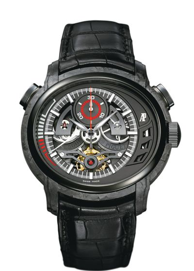 Audemar Piguet Millenary CARBON ONE    Hand-wound tourbillon chronograph with 24-hour power reserve indication. Forged carbon case, black dial, black strap. Limited edition of 120.