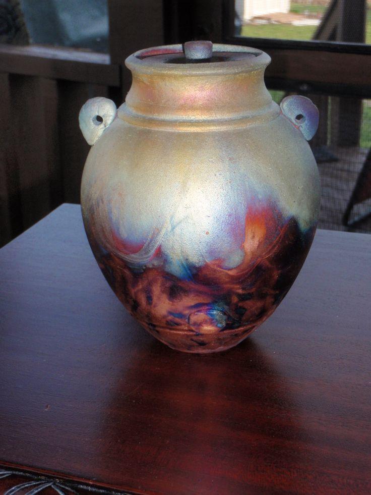 Lidded Raku treasure jar - artist unknown.