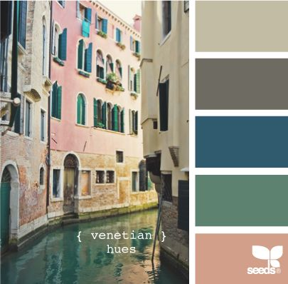 venetian hues - I like these deep colors with the neutrals, but I'm not sure how I feel about the peach color in the mix.