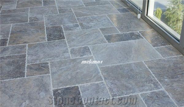 KITCHEN FLOORING  Silver Travertine french pattern - Turkey  Product, Supplier - StoneContact.com
