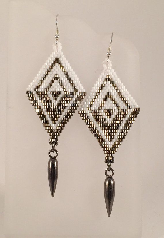 Seed Bead Woven Earrings The Demi by Calisi on Etsy