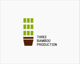 Three Bamboo Production Logo design - Logo Suitable for entertainment