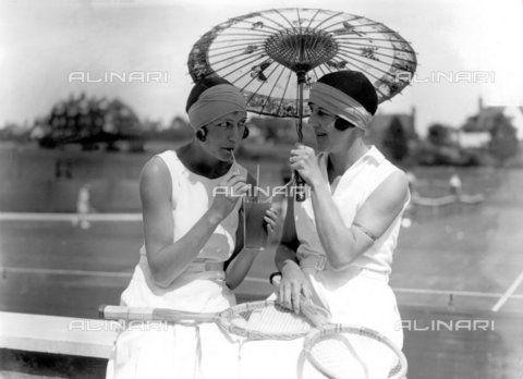 Frinton Tennis Tournament - Miss. J.E. Stevens and Mrs. Craddock 15th July 1929., Personalities, Frinton Tennis tournamen. (c)TopFoto / Alinari Archives