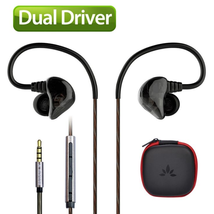 Avantree DUAL DRIVER High Definition In Ear Earphone Heavy Bass Sports Earbud Noise isolating headphone with Mic Music Track-D18