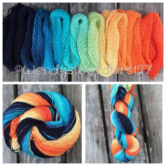 Gradient Dyed Yarn Hand dyed yarn Wool yarn by WendysWonders127