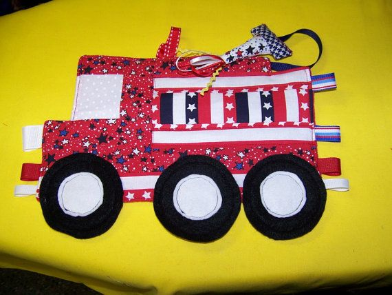 Taggie Toy Fire Truck Patchwork Crinkle Toy by civilwarlady, $19.95