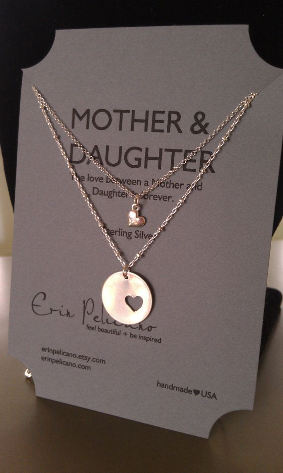 Mother Daughter Necklace Set // Inspirational Jewelry // Simple Delicate. So cute! I wonder if you can request two heart cutouts?